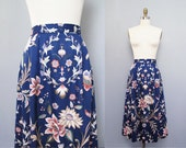 vintage BLUE floral cotton midi skirt L