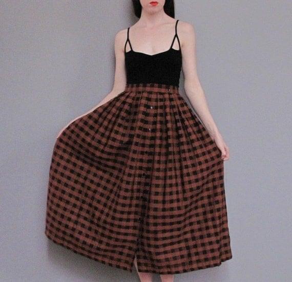 vintage BROWN black checkered skirt S M