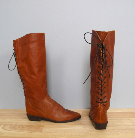 vintage brown LACE UP tall boots 7.5