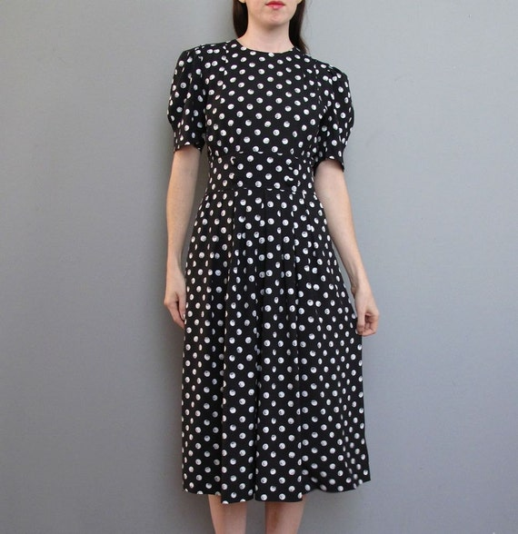 vintage BLACK polka dot dress S