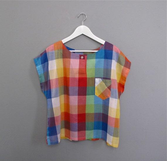 vintage CHECKERED plaid colorful shirt M L
