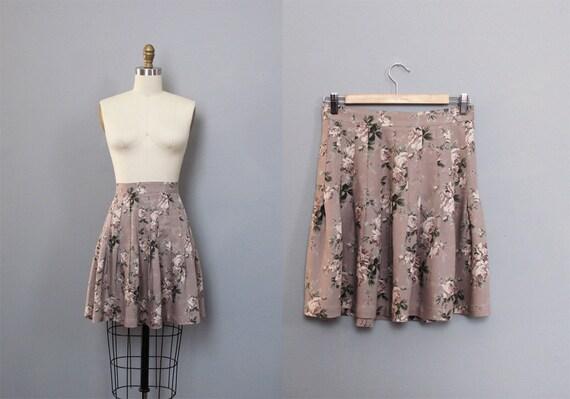 vintage GREY floral mini skirt S M