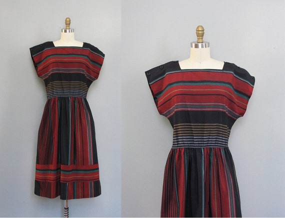 vintage cotton STRIPED black dress M L