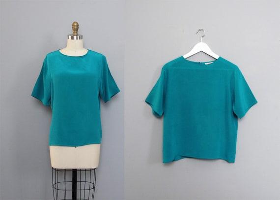 vintage TEAL silk blouse S