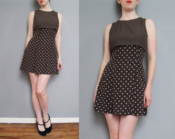 vintage brown POLKA DOT mini dress XS