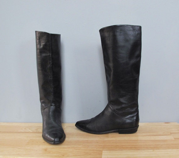 vintage BLACK tall leather flat boots 8.5