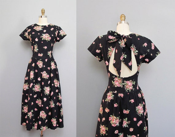 RESERVED for paperfight vintage open back BLACK floral dress bow S