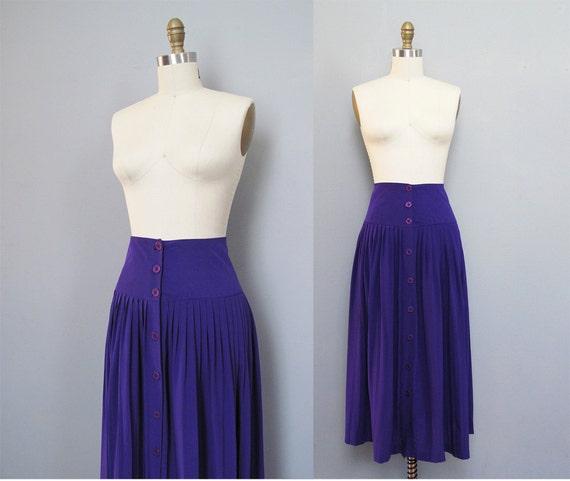 vintage VIOLET silk mid length skirt M L