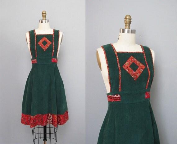 1950s  CORDUROY Teena Paige green jumper dress XS S