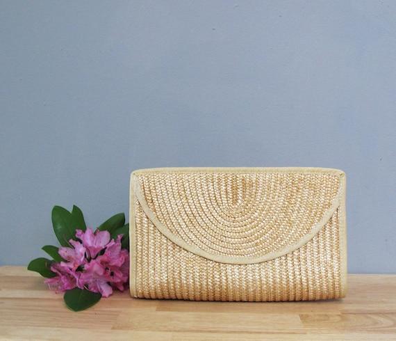 vintage WOVEN straw clutch purse