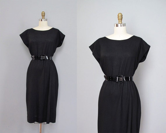 vintage BLACK linen dress w/ belt XS S