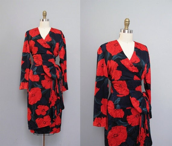 vintage 1980s SILK red floral POPPY print dress w/ bow S M