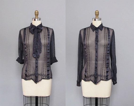 vintage SILK midnight blue SHEER striped silk blouse w/ bow XS S