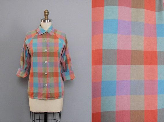 s a l e vintage CHECKERED PLAID pastel shirt S