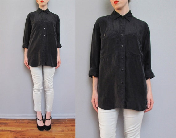vintage black SILK shirt S M