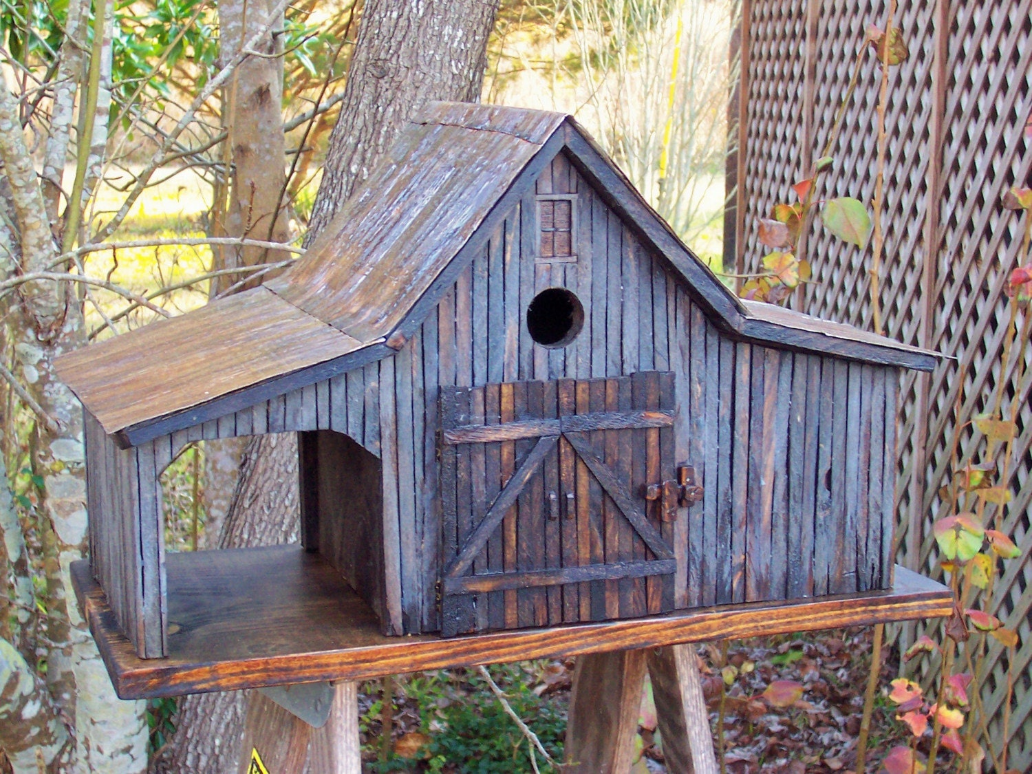 Country Farm Shed Birdhouse With Tin Roof Country Rustic