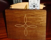 Mansonia and Pine TV Remote Holder / Organizer with Holly Inlay