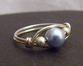 Sterling Silver and Swarovski Pearl Wire Wrapped Ring - Size 5 1\/4