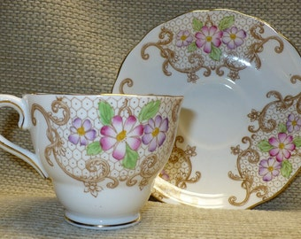 Colclough Footed Cup and Saucer, 6621, Circa 1940's