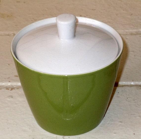 Aloe Green Mikasa Cerastone Sugar Bowl Mid-century