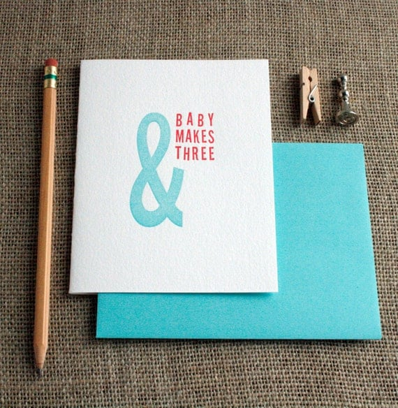 Letterpress 'And Baby Makes Three' Card - Pink