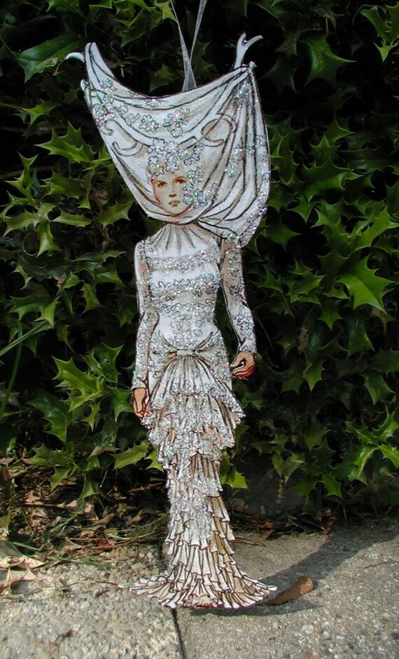 Hand Made,  Original,  Paper Doll,   Model dressed in white crystal gown,   CSST