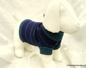 Petite Plus Pet Cropped Sweater Navy and Teal Stripe