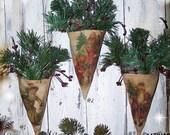 Primitive Vintage Santa Print Cone Ornament  OFG TEAM  OFGHC