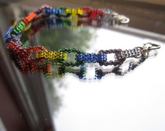 SALE now half price Beaded chain link bracelet in rainbow colours