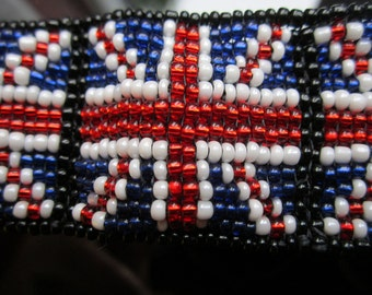 Union Jack flag hand beaded bracelet made to order in your size