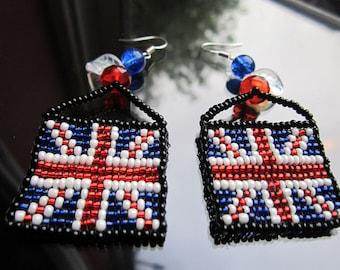 Union Jack hand beaded earrings
