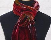 Autumn Glow - Handmade hand painted silk velvet scarf - sale - FHF - BlueBoxStudio