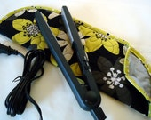 Quilted Flat Iron or Curling Iron Cover Bold Black and Deep Yellow Floral