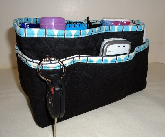 "Quilted Purse Organizer Insert With 4"" Depth Enclosed Bottom - Black With Aqua Blue Clearance 40% Off"