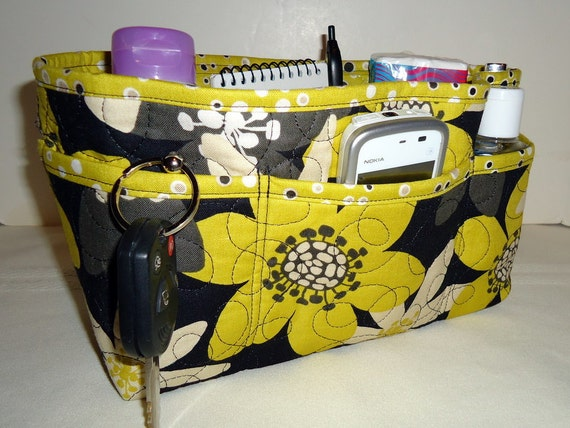 "Purse Organizer Insert With Enclosed Bottom -New 4"" Depth - Bold Black and Deep Yellow Large Floral"