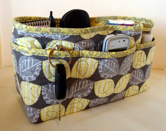 """Quilted Large Purse Organizer Insert With 4"""" Depth Enclosed Bottom -  Gray & Yellow Leaves"""