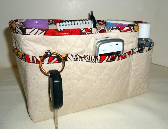 """Quilted Purse Organizer Insert With 4"""" Depth Enclosed Bottom -  Tan With Brown Floral"""