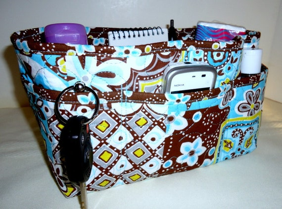 "Purse Organizer Insert/Quilted/ 4"" Enclosed Bottom/Brown and Blue Patchwowrk Clearance 40% Off"