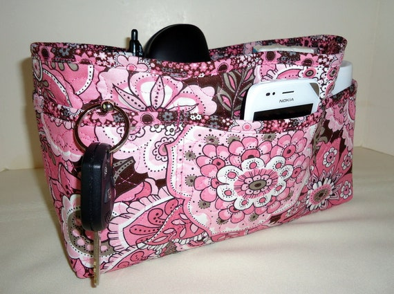 Quilted Purse Organizer Insert With Enclosed Bottom Large - Pink and Brown Large Floral