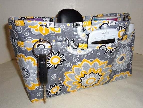 Quilted Purse Organizer Insert With Enclosed Bottom Large -  Shades of Gray and Yellow