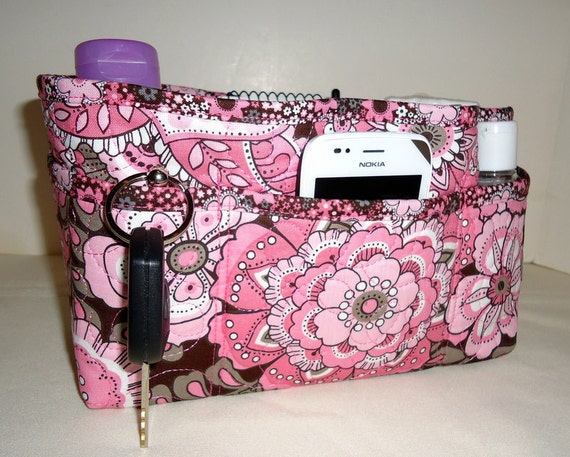 """Purse Organizer Insert With Enclosed Bottom -New 4"""" Depth - Bold Pink and Brown Floral"""