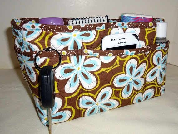 "Purse Organizer Insert With Enclosed Bottom -New 4"" Depth  - Turquoise Flowers on Brown"