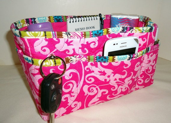 "Purse Organizer Insert With Enclosed Bottom -New 4"" Depth  -  Hot Pink"