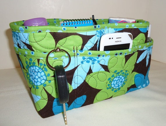 Purse Organizer Insert With Enclosed Bottom - Brown with Large Flowers in Lime Green and Blue