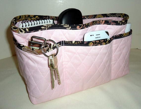 Large  Purse Organizer Insert with Enclosed Bottom - Pale Pink With Black Print