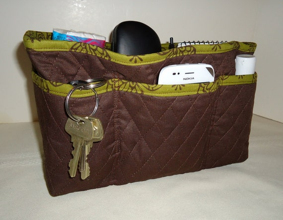 "Quilted Purse Organizer Insert/Quilted/ 4"" Depth/ Enclosed Bottom/Brown With Olive Green print"