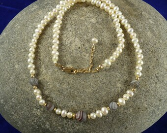Fresh water pearl necklace, with frosted Botswana agate (dark) and gold-filled accents