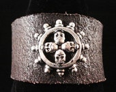 Halloween Skull Tibetan silver Skull Wheel cuff custom made - Urban Hardwear