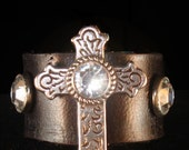 leather and crysta Celtic cross ring custom made - Urban Hardwear