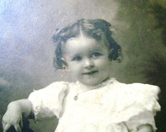 Cabinet Card with Precious Curly Haired Little Girl